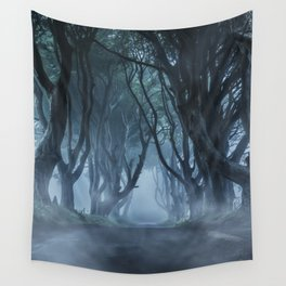 Very cold foggy morning at Dark Hedges Wall Tapestry
