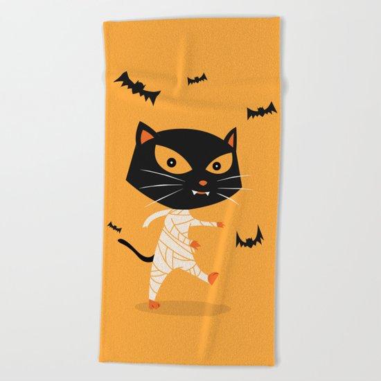 Mummy Cat Beach Towel
