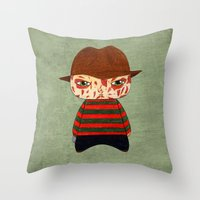freddy krueger Throw Pillows featuring A Boy - Freddy Krueger by Christophe Chiozzi