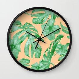 Tropical Monstera Hibiscus Botanical Pattern Green Coral Peach Wall Clock