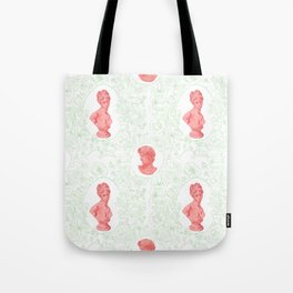 Ancient Greek Bust Pattern Floral in Watermelon Classic Design Tote Bag