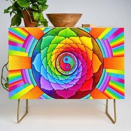 Healing Lotus Rainbow Yin Yang Mandala Credenza