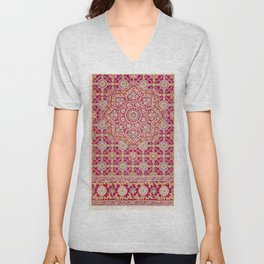Indian embroidery on crimson silk from the Industrial arts of the Nineteenth Century (1851-1853) by (1820-1877) Unisex V-Neck