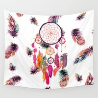 preppy Wall Tapestries featuring Hipster Watercolor Dreamcatcher Feathers Pattern  by Girly Trend