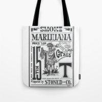 marijuana Tote Bags featuring SMOKE MARIJUANA by NIGHTJUNKIE