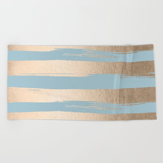 Painted Stripes Gold Tropical Ocean Sea Blue Beach Towel