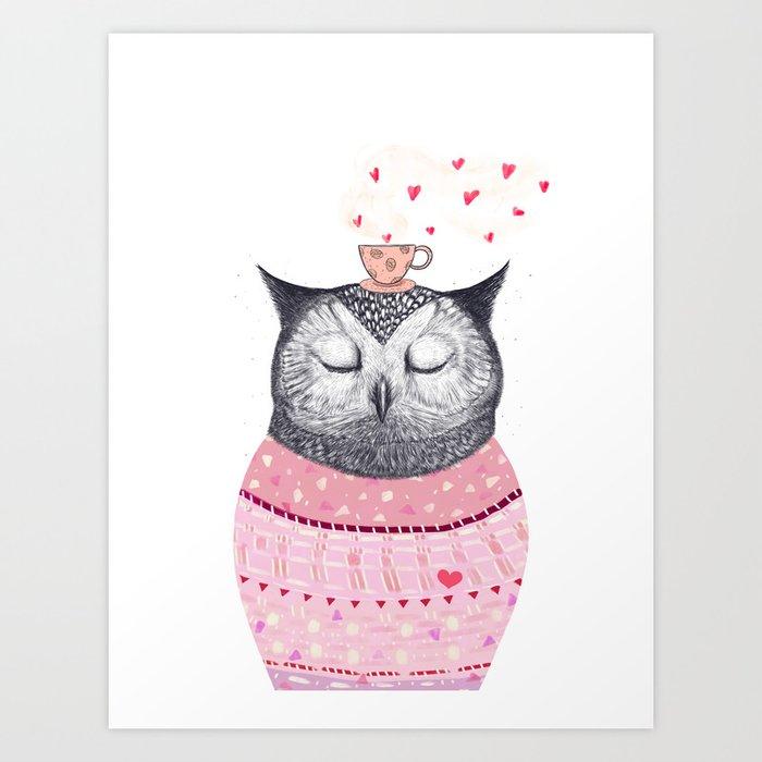 Owl lover of coffee Art Print