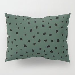 Cheetah Spots animal print minimal wild cat speckles and dots Forest Green Pillow Sham