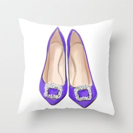 Manolo Purple Shoes Throw Pillow