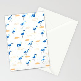 Blue Summer Flamingos Stationery Cards