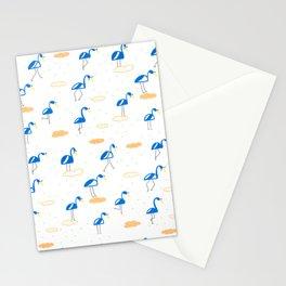 Blue Summer Flamingos Stationery Cards