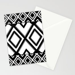 Lozenges Geometric Black Pattern Stationery Cards