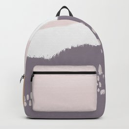 NORA :: Modern Abstract Painting Brush Strokes Color Palette Light Pink Mustard Gold Blue Lavender Backpack