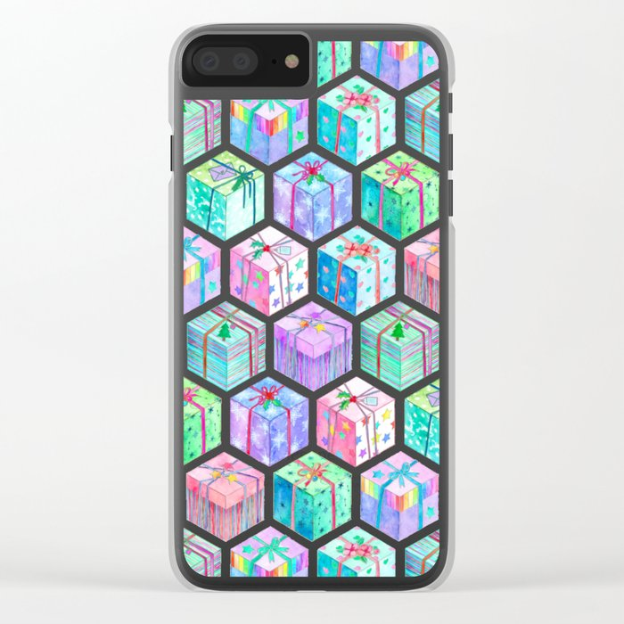 Christmas Gift Hexagons Clear iPhone Case