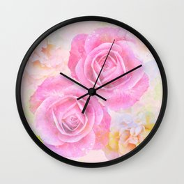 Painterly roses in pastels Wall Clock