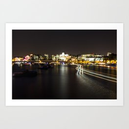 Ferry going by on the Thames Art Print
