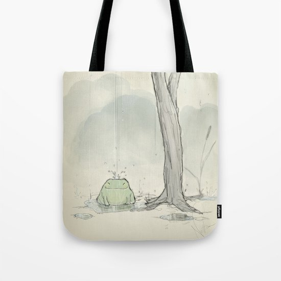 The frog under the rain Tote Bag