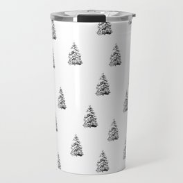 Newspaper Print Pine Trees Travel Mug