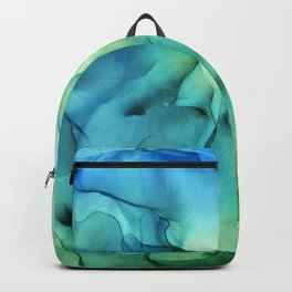 Blue Green Spring Marble Abstract Ink Painting Backpack