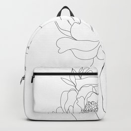 Minimal Line Art Woman Flower Head Backpack