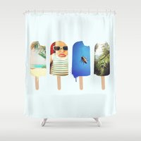 popsicle Shower Curtains featuring Popsicle by Jemma Pope
