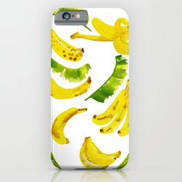 Banana and Leaf Pattern iPhone Case