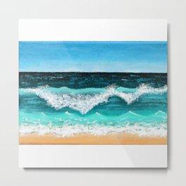 Beach Painting — Ocean Painting — Nautical Acrylic Painting — Ocean Eaves Crashing Design Metal Print