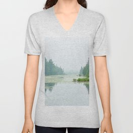 Foggy lake Unisex V-Neck