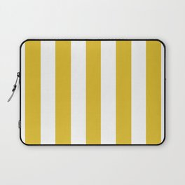 Durian Yellow - solid color - white vertical lines pattern Laptop Sleeve
