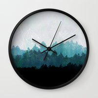 woods Wall Clocks featuring Woods Abstract  by Mareike Böhmer