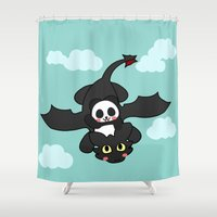 how to train your dragon Shower Curtains featuring How Panda Train Your Dragon by Pandakuma Store