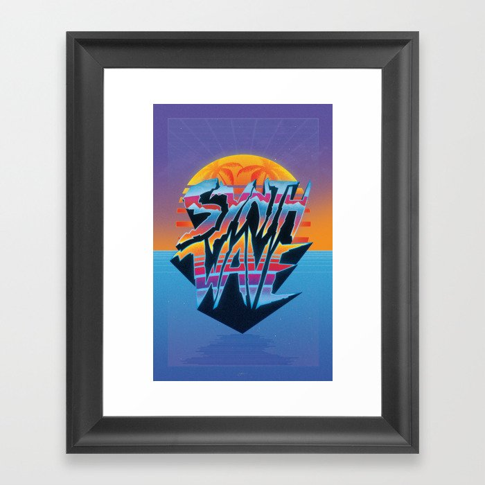 """Outrun 1980s Poster """"Synthwave"""" Text Framed Art Print"""