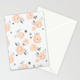 Peach n Gray Florals Stationery Cards