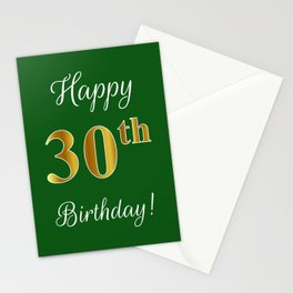 """Elegant """"Happy 30th Birthday!"""" With Faux/Imitation Gold-Inspired Color Pattern Number (on Green) Stationery Cards"""