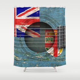 Old Vintage Acoustic Guitar with Fiji Flag Shower Curtain
