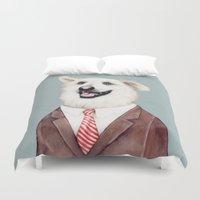 labrador Duvet Covers featuring Happy Labrador Retriever  by Animal Crew