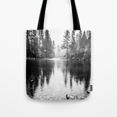 Forest Reflection Lake - Black and White Nature Water Reflection Tote Bag