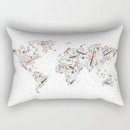Birds of a Feather World Map Art Rectangular Pillow