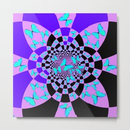 Purple & Blue Butterfly Geometric Abstract Designs Metal Print