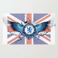 chelsea Area & Throw Rugs featuring Chelsea FC by Future Illustrations- Artwork by Julie C