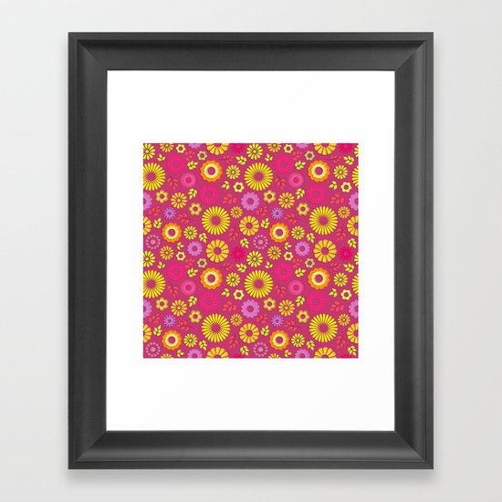 Country flowers in pink Framed Art Print