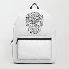 Skull of Bikes Silhouette Collage Art Backpack