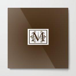 Monogram Letter M on Dark Brown Metal Print