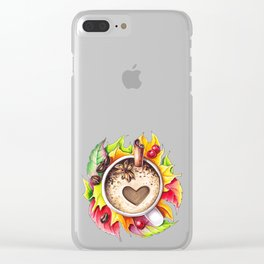 Fall and cup of coffee Clear iPhone Case