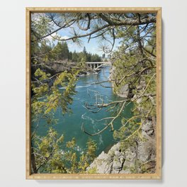 Beautiful Old Bridge Over The Spokane River, Trees, Water, Bridge Serving Tray