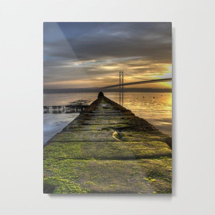 The Forth Road Bridge as the Sun Sets Metal Print