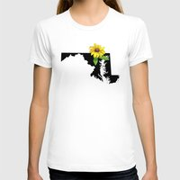 maryland T-shirts featuring Maryland Silhouette and Flower by Ursula Rodgers