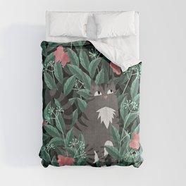 Butterfly Garden (Tabby Cat Version) Comforters