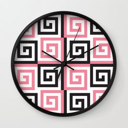 Geometric Pattern #124 (pink Greek spiral) Wall Clock