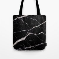 geology Tote Bags featuring Black Marble by Santo Sagese